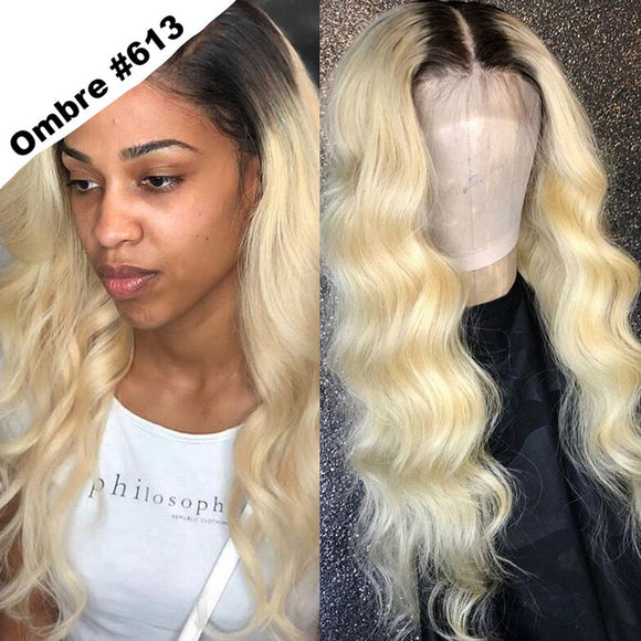 FPC Long Body Wave 613 Lace Front Wig Glueless Ombre Blonde Wig With Baby Hair Brazilian Remy Human Hair Wigs For Women