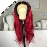 FPC Ombre Human Hair Wig Preplucked With Baby Hair Brazilian Remy Hair Glueless Red Lace Front Human Hair Wigs For Women