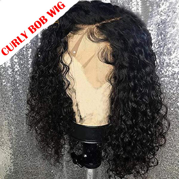13*6 Short Curly Human Hair Bob Wig Lace Front Human Hair Wigs For Black Women Brazilian Remy Pre Pluck Hairline