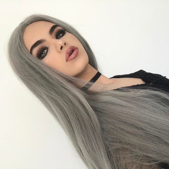 FPC Grey Long Synthetic Lace Front Wigs SLW014