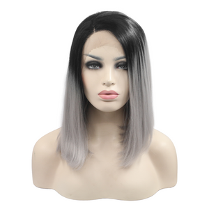 Ombre Silver Synthetic Lace Front Wigs