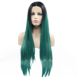 Ombre Green Synthetic Lace Front Wigs