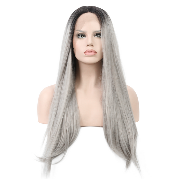 Grey Synthetic Lace Front Wigs