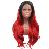 Ombre Red Synthetic Lace Front Wigs