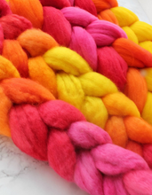 "Load image into Gallery viewer, ""Tangy Mango"" Roving - Fine Merino"