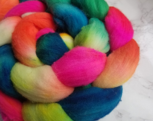 """Tropical Jellybean"" Roving - Fine Merino"