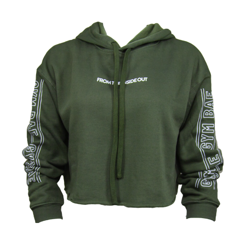 From the Inside Out Crop Hoodie - Military Green