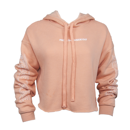 From the Inside Out Crop Hoodie - Peach