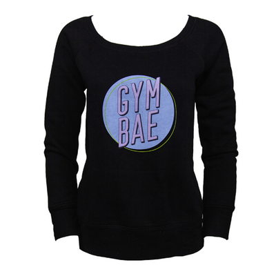 Gym Bae Wide Neck Sweater - Black