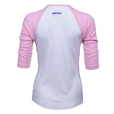Team Human Baseball Tee - White/Pink
