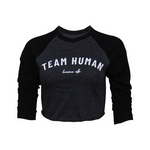 Team Human Crop Baseball Tee - Grey/Black