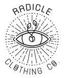 logo for radicle clothing co featuring a sprouted seed as the pupil of a radiant eye