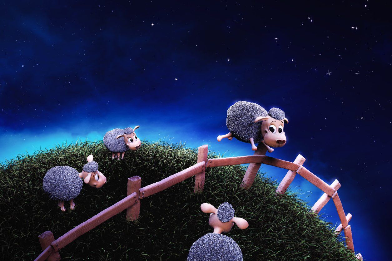 graphic of cute sheep jumping a fence at night