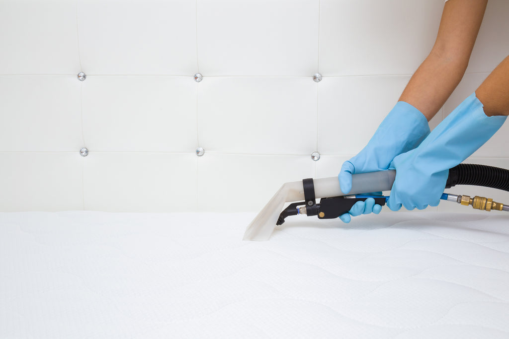 gloved hands vacuuming mattress