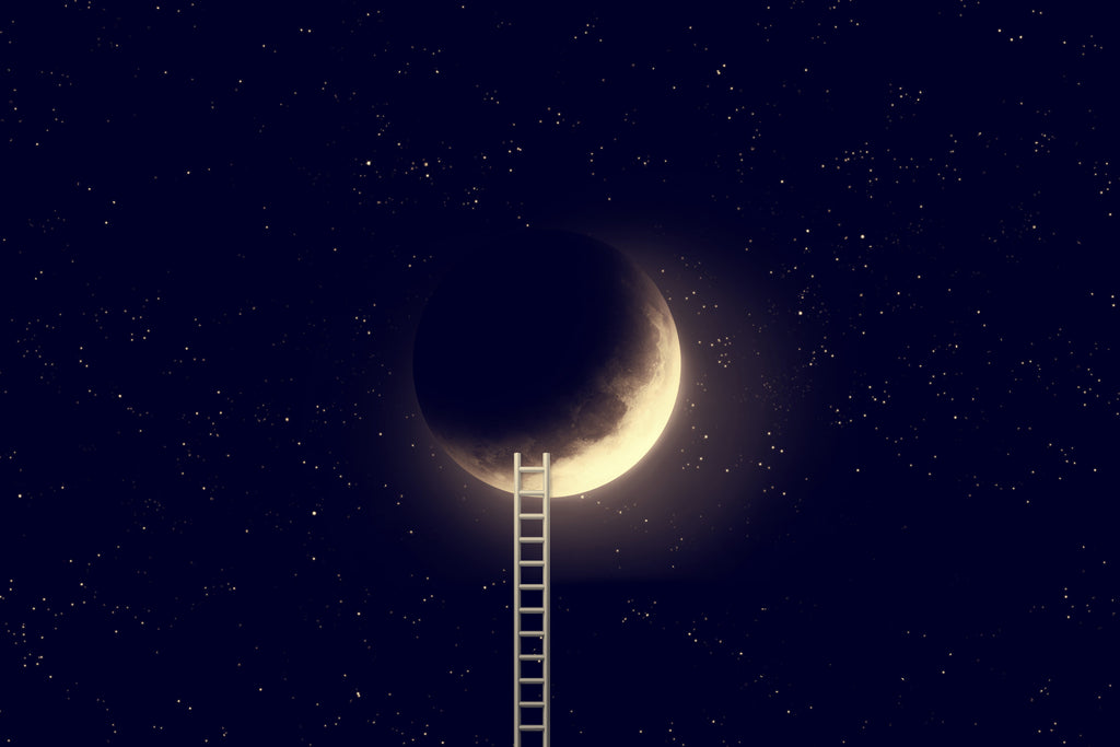 ladder to the moon surrounded by stars