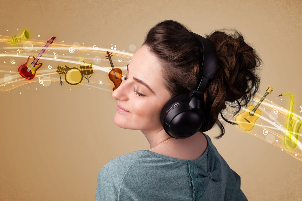 woman with headphones listening to classical music graphic