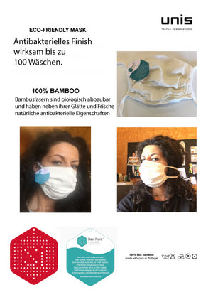 2 - Pack 100% bamboo mouth, nose and fabric mask | reusable, washable mask with bag according to Oeko-TEX® Standard 100 Made in Portugal hand work