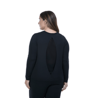 Lola Getts Long Sleeve Peek A Boo-Black-Black