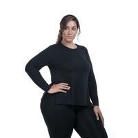 Lola Getts Side Slit Long Sleeve-Black