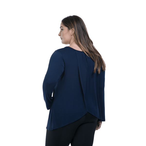 Long Sleeve Flutter Back-Navy
