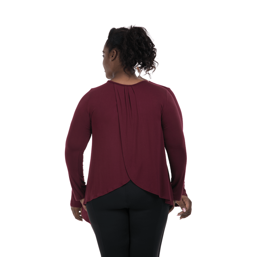 Long Sleeve Flutter Back-Cabernet
