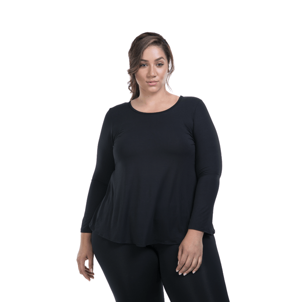 Long Sleeve Flutter Back - Black