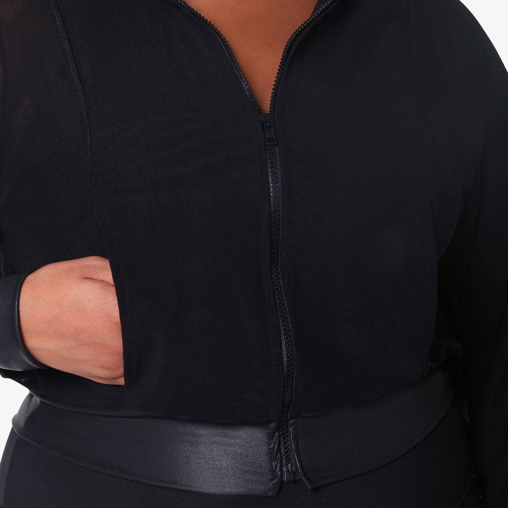 Cropped Mesh Jacket - Black Matte