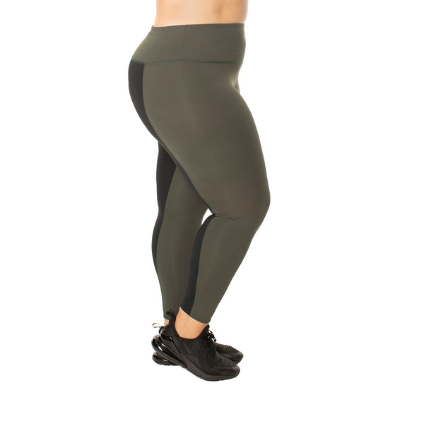Hi-Rise Color Block Back Panel Legging - Olive/Black