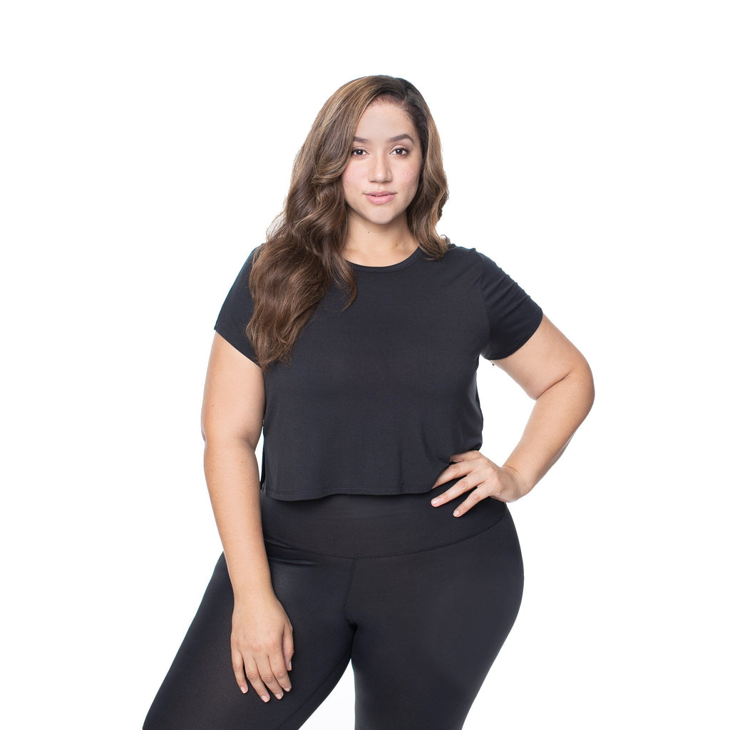The Perfect Cropped Mesh-Backed Short Sleeve - Black