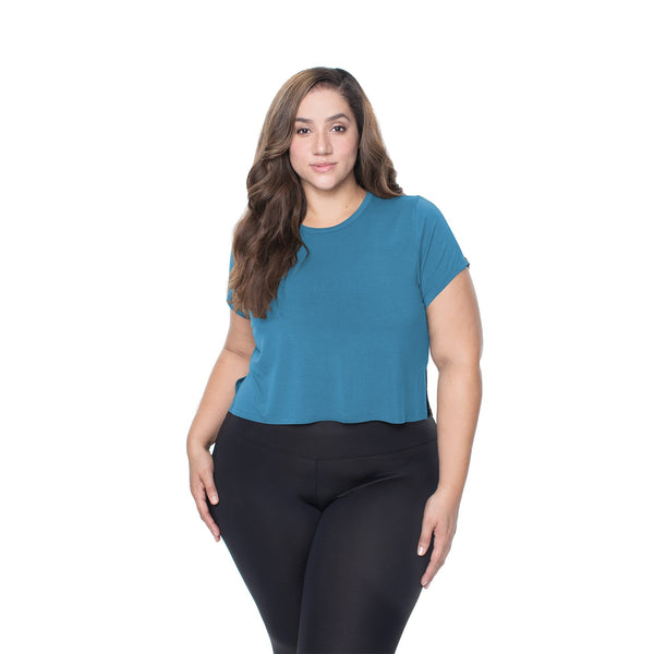 Cropped Short Sleeve - Moody Blue