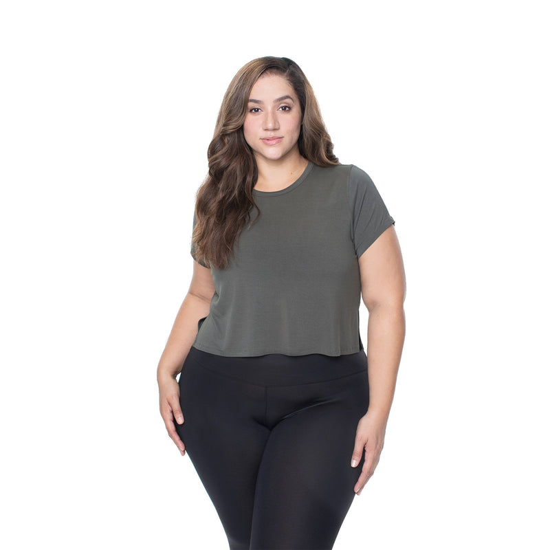 571958d2a6a The Perfect Cropped Short Sleeve - Olive – Lola Getts
