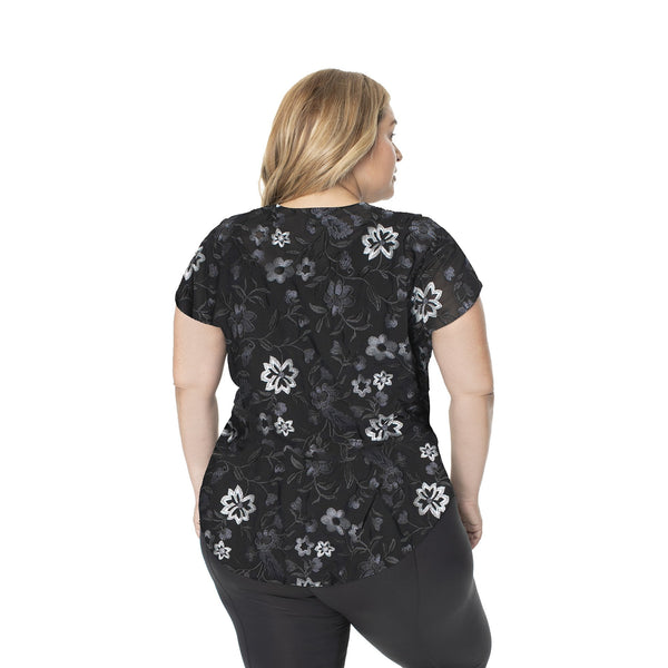 Hi-Low Mesh Backed Short Sleeve - Black & Grey Floral