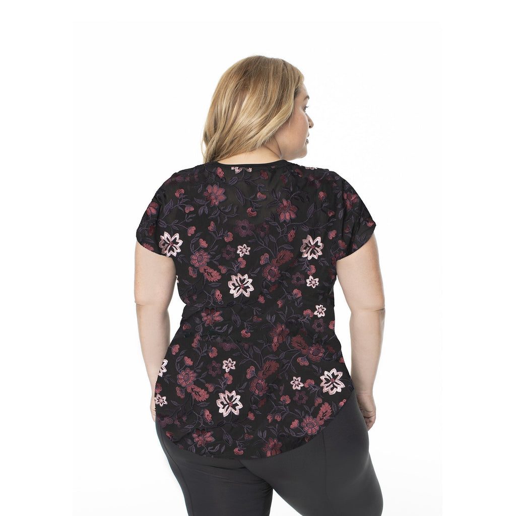 Hi-Low Mesh Backed Short Sleeve - Black & Pink Floral