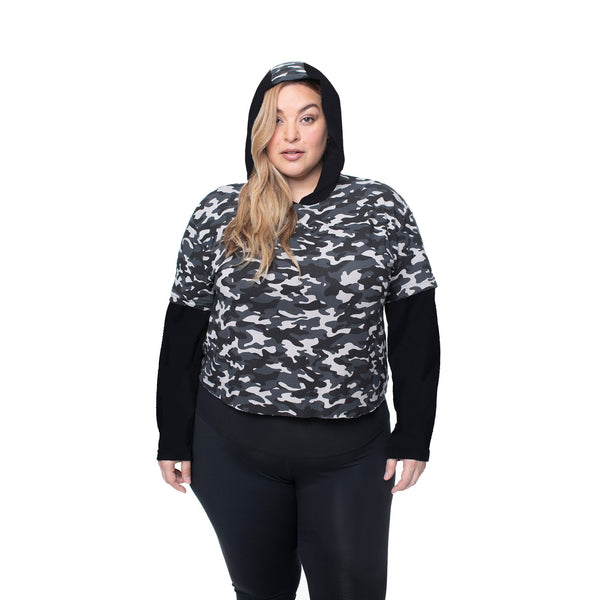 Cropped Double Layered Sweatshirt - Camo and Black