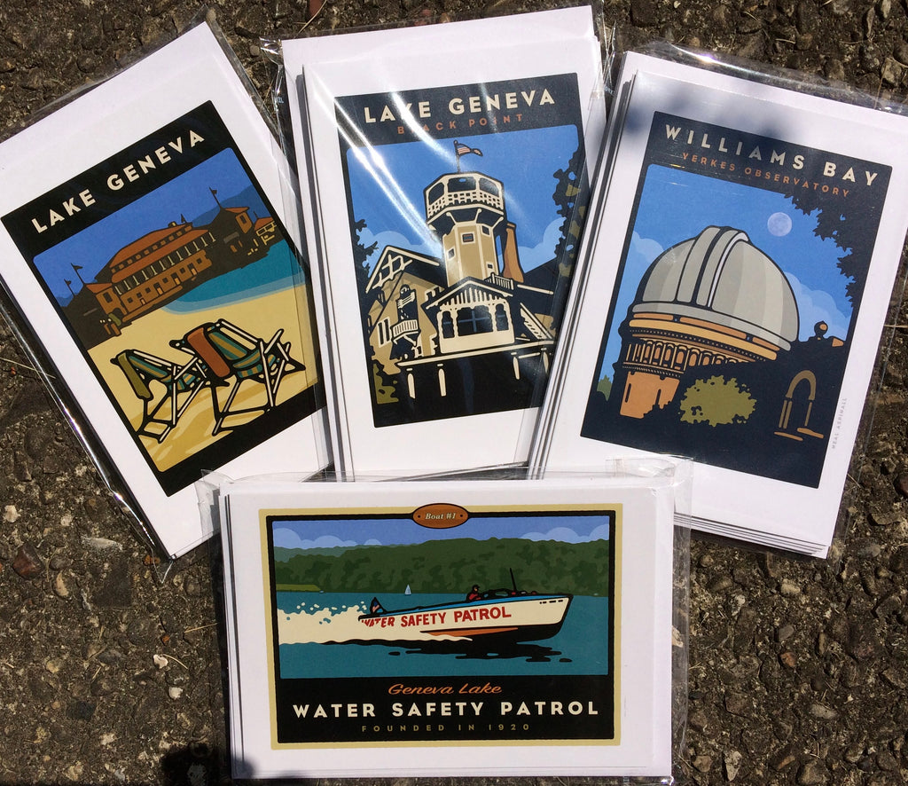 00 4-pack of Lake Geneva Note Cards