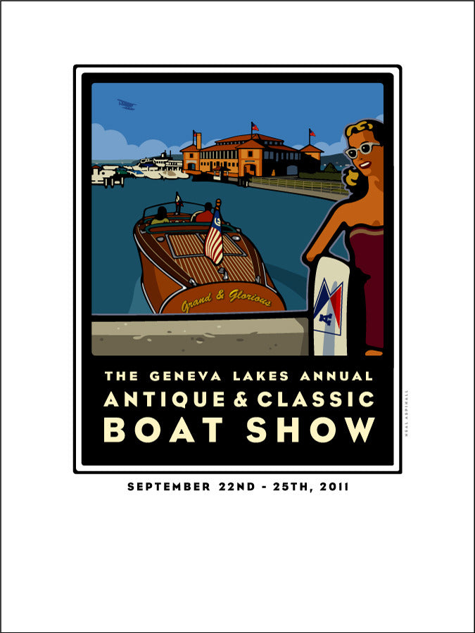 6A Lake Geneva Antique & Classic Boat Show Offset Print 2011
