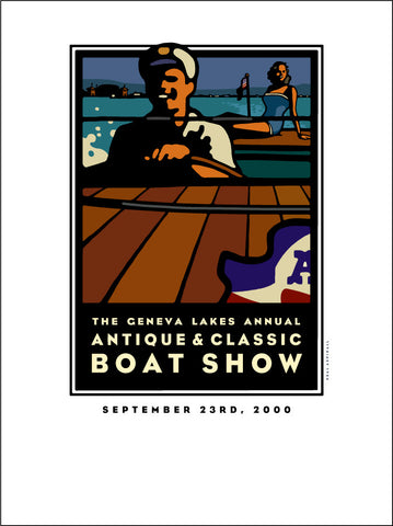 Lake Geneva Antique & Classic Boat Show Giclee Print 2000