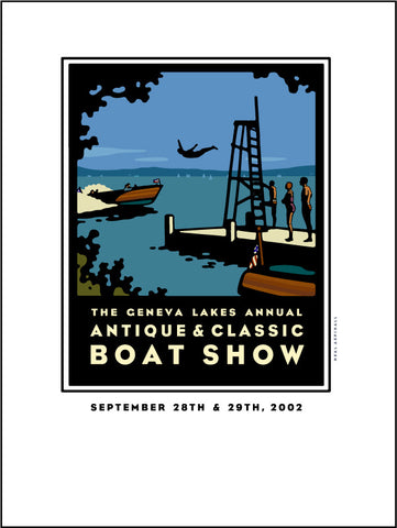 9F Lake Geneva Antique & Classic Boat Show Giclee Print 2002