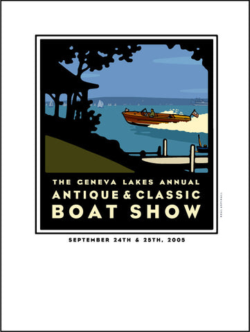 9D Lake Geneva Antique & Classic Boat Show Giclee Print 2005