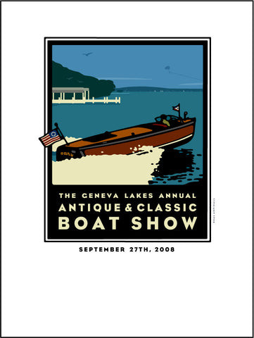 9A Lake Geneva Antique & Classic Boat Show Giclee Print 2008