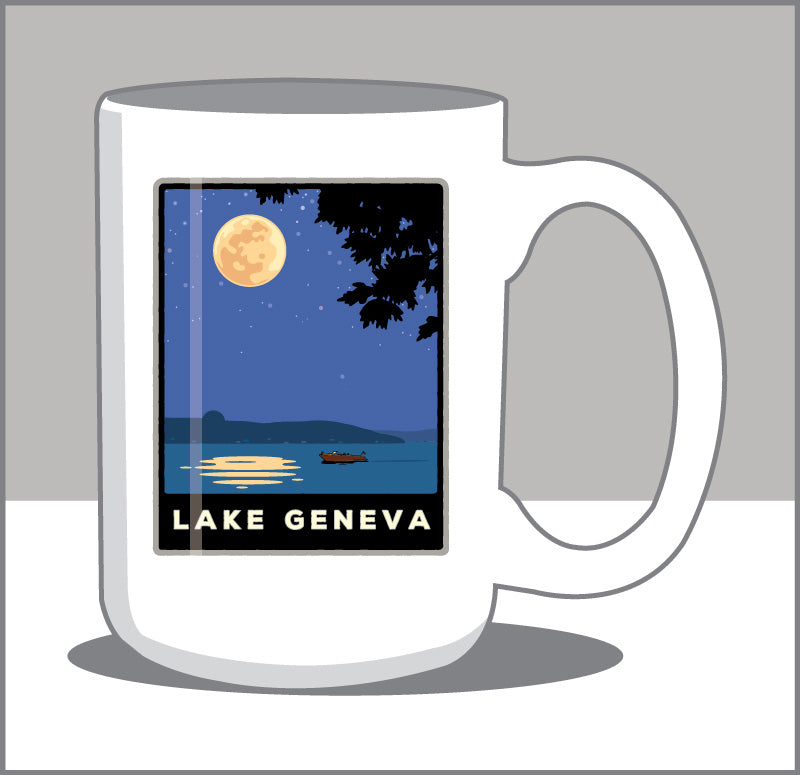 Lake Geneva Moonlight Cruise 15 oz Coffee Mug