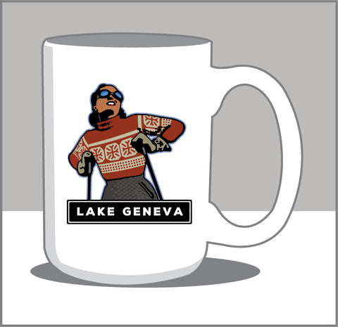 00 A Majestic Cup of Coffee; Vintage Downhill Skier 15 Oz. Coffee Mug- A.LAKE GENEVA