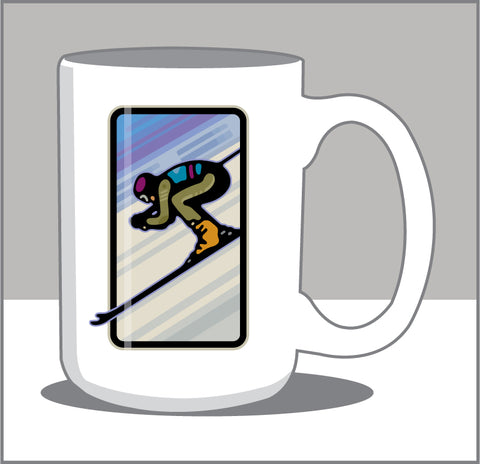 00 It's All Downhill From Here; Downhill Skier 15 oz Coffee Mug