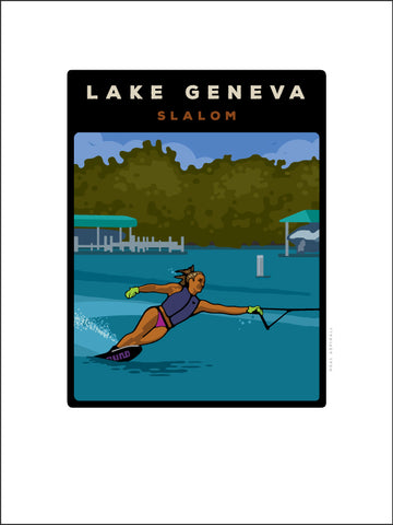 00 Lake Geneva Slalom Skier Digital Studio Print