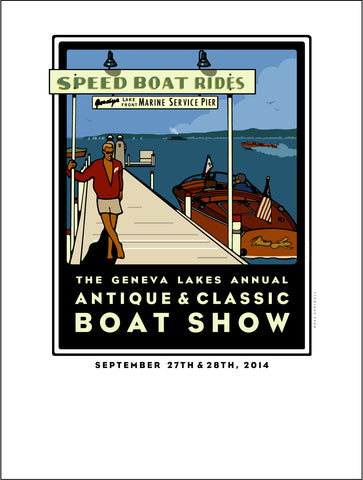 2A Lake Geneva Antique & Classic Boat Show Offset Print 2014