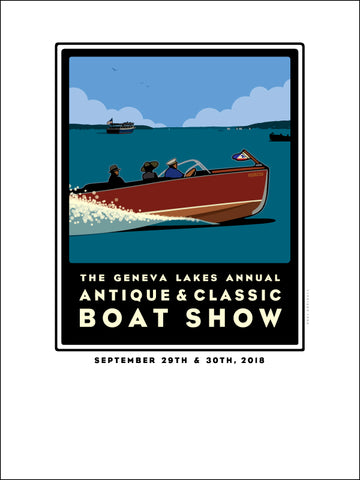 000 Lake Geneva Antique & Classic Boat Show Offset Print 2018