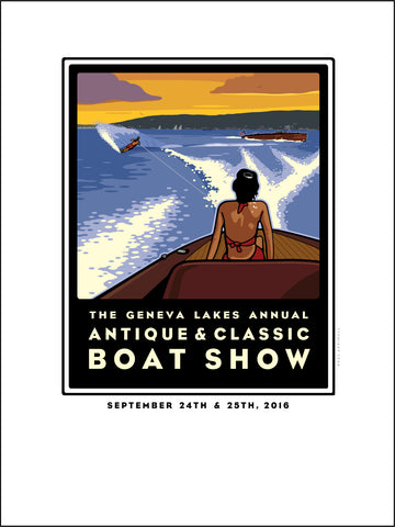 A. Lake Geneva Antique & Classic Boat Show Offset Print 2016