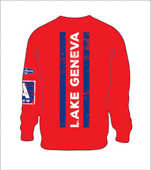 0 AspinShire® Long Sleeve Lake Geneva A Scow Tshirt / RED
