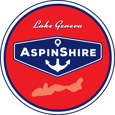"0 AspinShire® Lake Geneva 4"" Round Sticker"