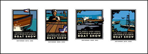 01A First Four Classic Lake Geneva Boat Show Posters Digital Studio Print 21x8